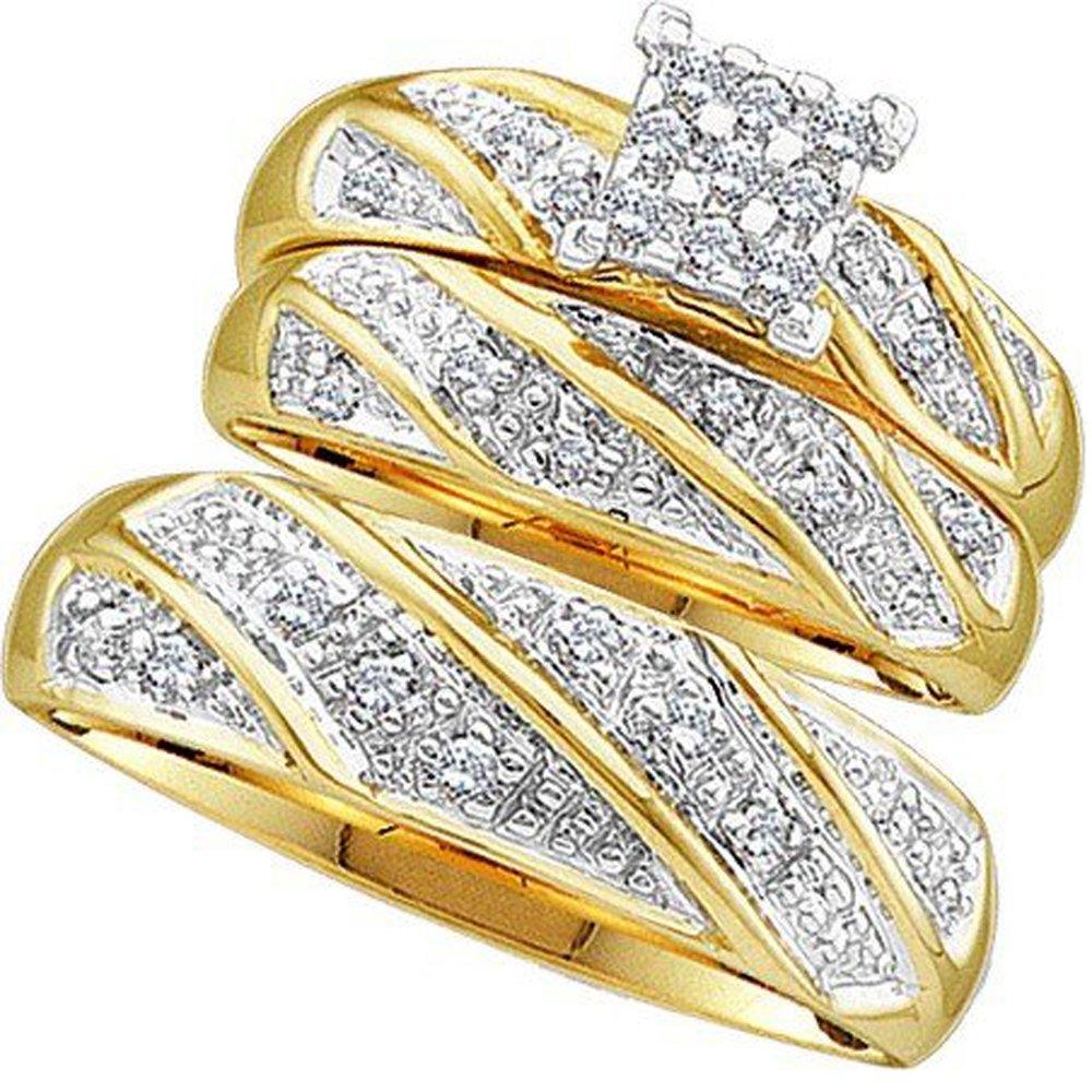0.30 Carat (ctw) 10K Yellow Gold Round Cut Diamond Men & Women's Cluster Engagement Ring Trio Set 1/3 CT