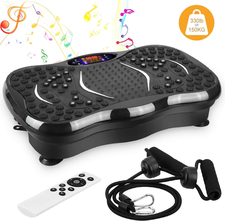 EVOLAND Plataforma Vibratoria, Máquina de Ejercicio Entrenamiento Masaje, Motor Silencioso y Altavoz Bluetooth con Control Remoto y Bandas de Elásticas para Perder Peso Rápida y Relajar Músculos
