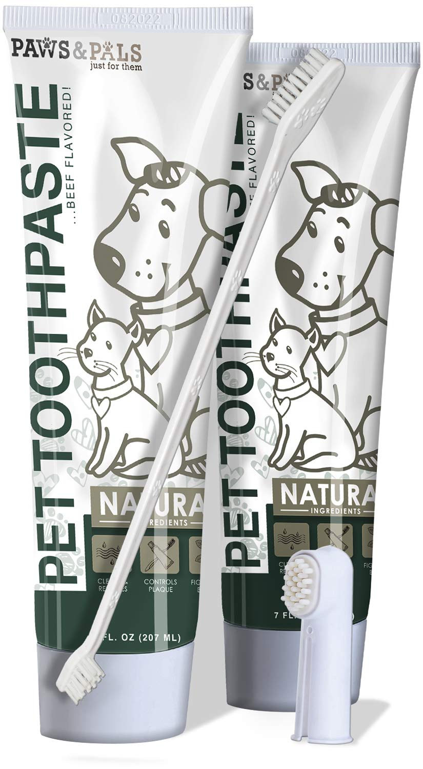 Paws & Pals 14 oz. Pet Dog Cat Enzymatic Toothpaste Dental Care Kit with Dual Toothbrush for Oral Hygiene - Fights Plaque Freshens Breath - Cleans and Restores - Pack of 2 - Beef Flavor