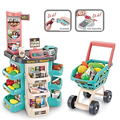 Kids Supermarket Shopping Set, Mosunx Pretend and Play Shopping Grocery Store w/Shopping Cart, Scanner, Credit Card Machine, Scanable Fruits & Food (for 3 Years Old +, Blue Set B): Arts, Crafts & Sewing