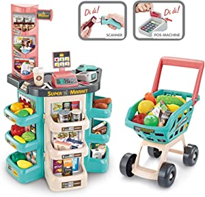 CEspace Shopping Grocery Play Store with Shopping Cart and Scanner-Green Grocery Cart Toy with Wheel Pretend Play Food Supermarket Store Playset Gifts for Kids