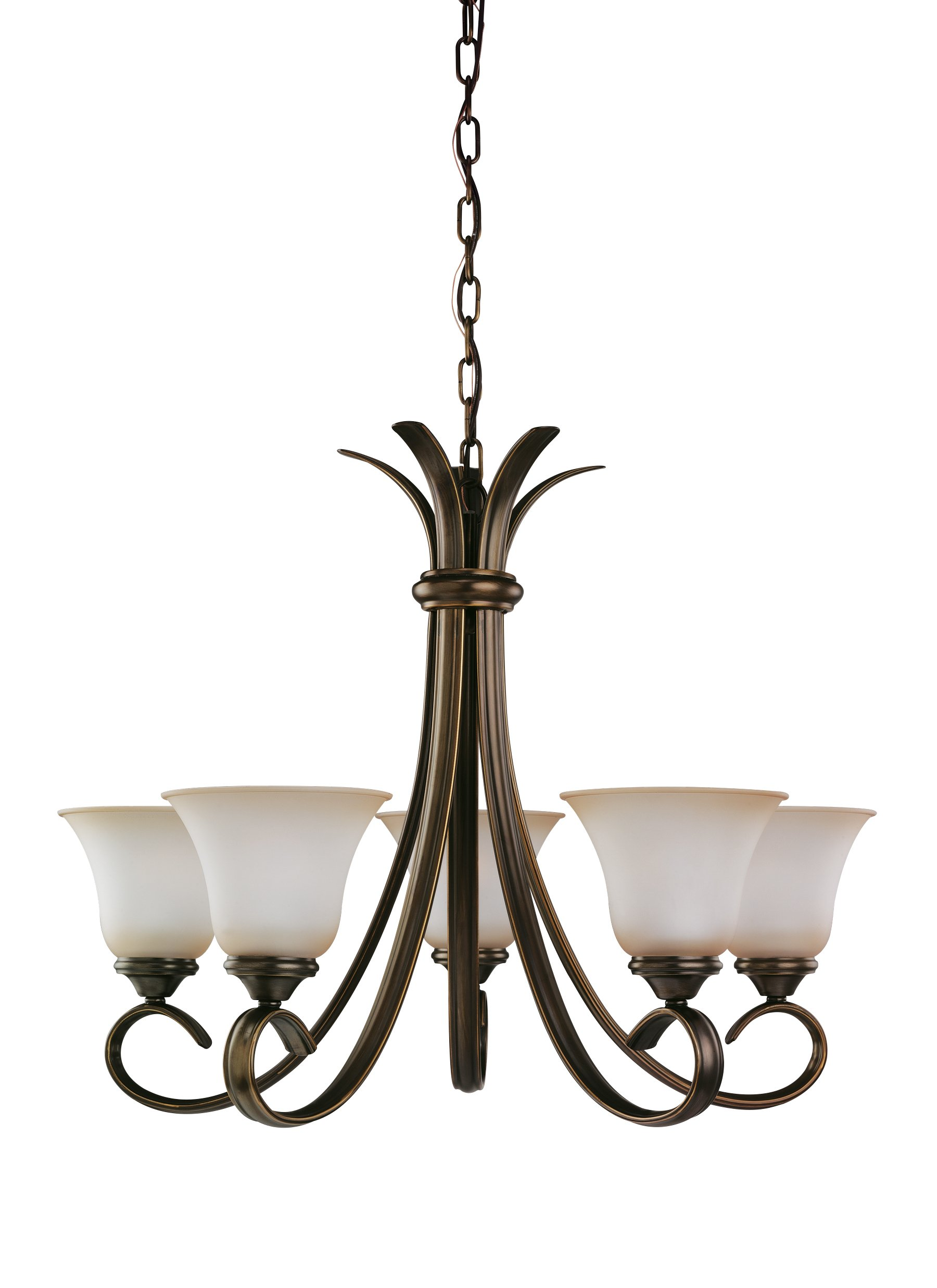 Sea Gull Lighting 31361-829 Five-Light Rialto Chandelier with Ginger Glass Shades, Russet Bronze Finish