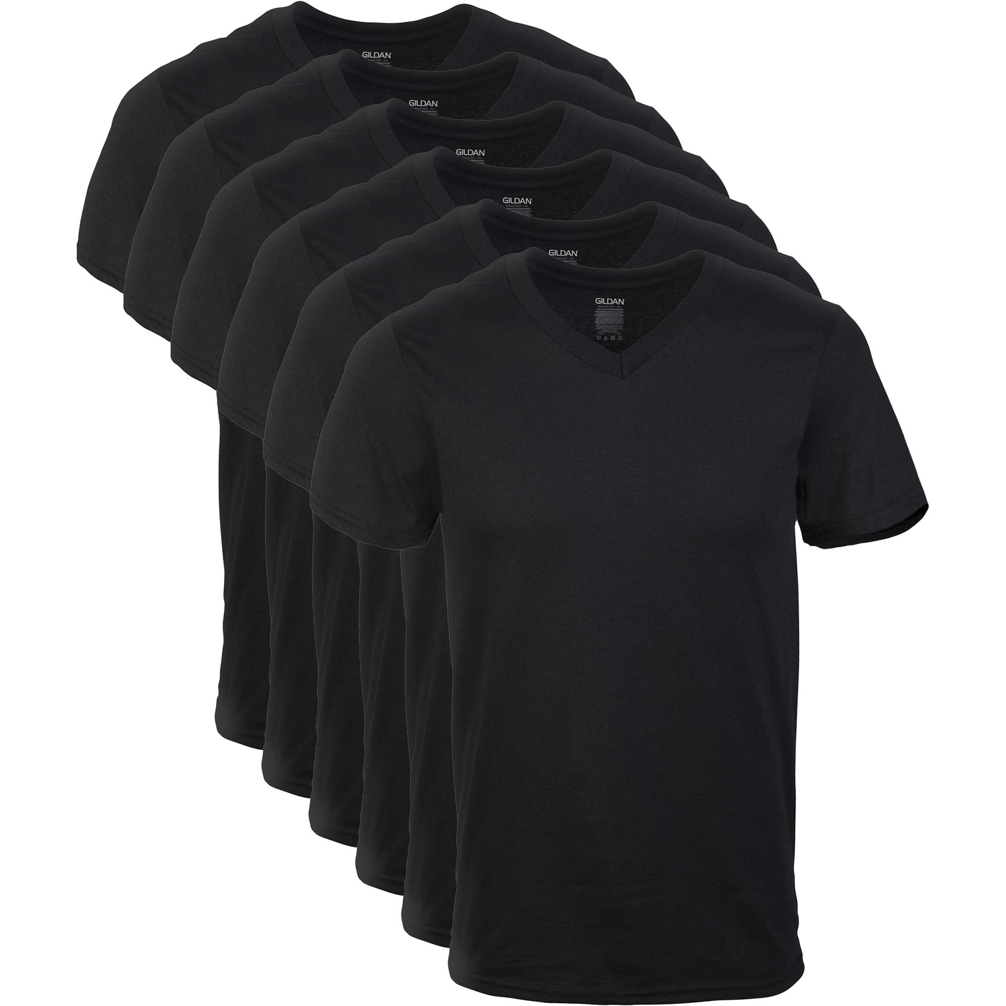 Gildan Men's V-Neck T-Shirts Multipacks, Black 6 Pack, Large by Gildan