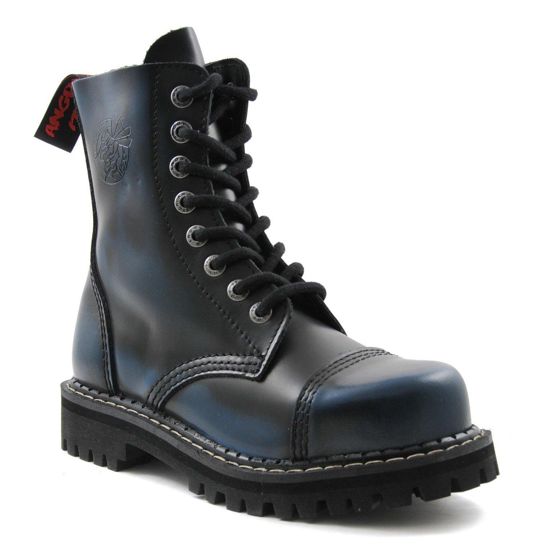 ANGRY ITCH Kampfstiefel Unisex Herren Damen Leder Blau Rub-Off Schwarz 8 Löcher Army Militärstiefel Punk Stahlkappe