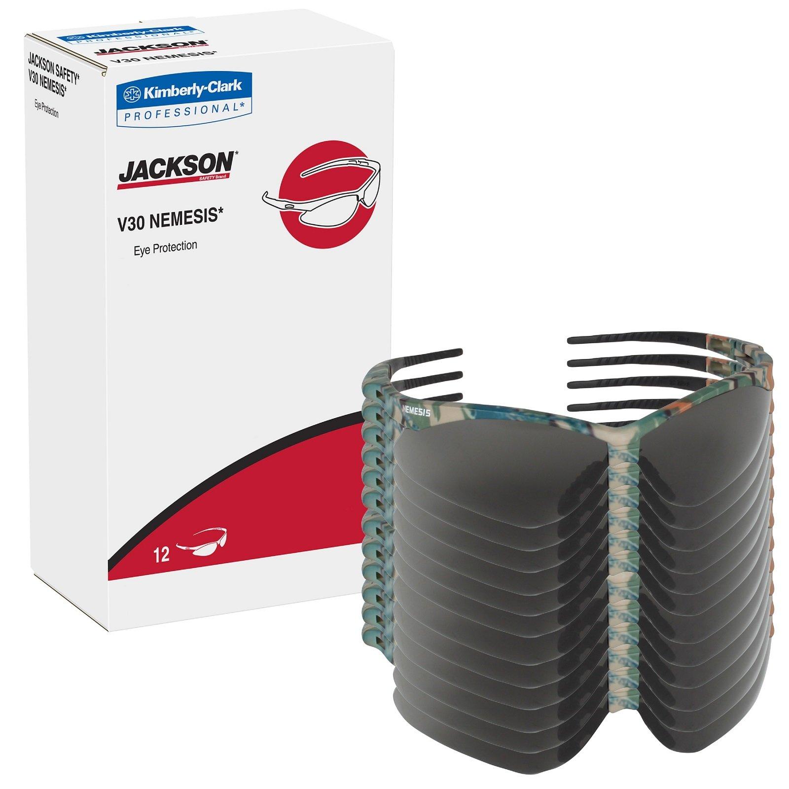 12 Pack Jackson Safety 3020707 V30 Nemesis Safety Glasses Camo Frame / Smoke Anti-Fog Lens(22609) by Allsafe Services & Materials