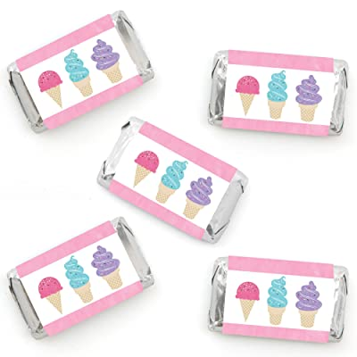 Big Dot of Happiness Scoop Up the Fun - Ice Cream - Mini Candy Bar Wrapper Stickers - Sprinkles Party Small Favors - 40 Count: Toys & Games