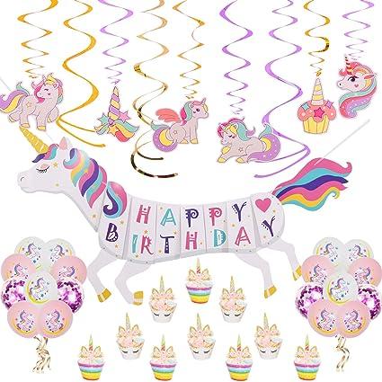 Amazon Com Rainbow Unicorn Theme Birthday Party Decorations