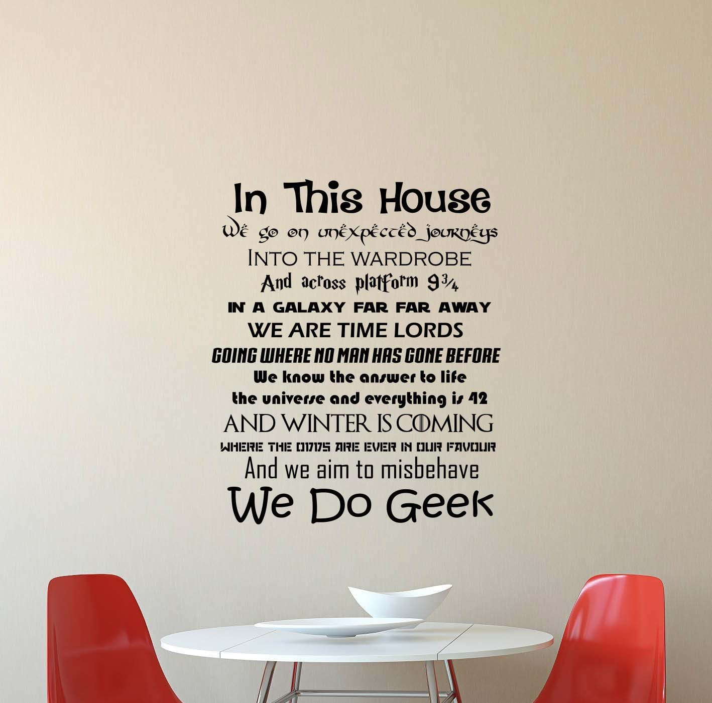 """In This House We Do Geek Wall Decal Harry Potter Star Wars Game Of Thrones Quote Inspirational Sayings Vinyl Sticker Motivational Gift Home Bedroom Decor Art Poster Mural Custom Print (22"""" x 28"""")"""