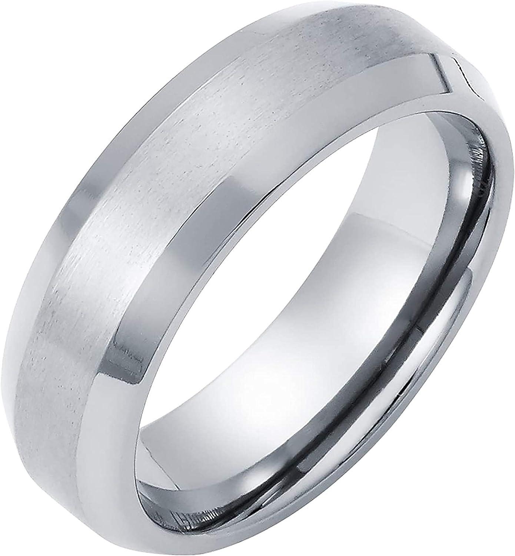 Boston Bay Diamonds Men's 7MM Comfort Fit Titanium Brushed Finish Center Wedding Band Ring