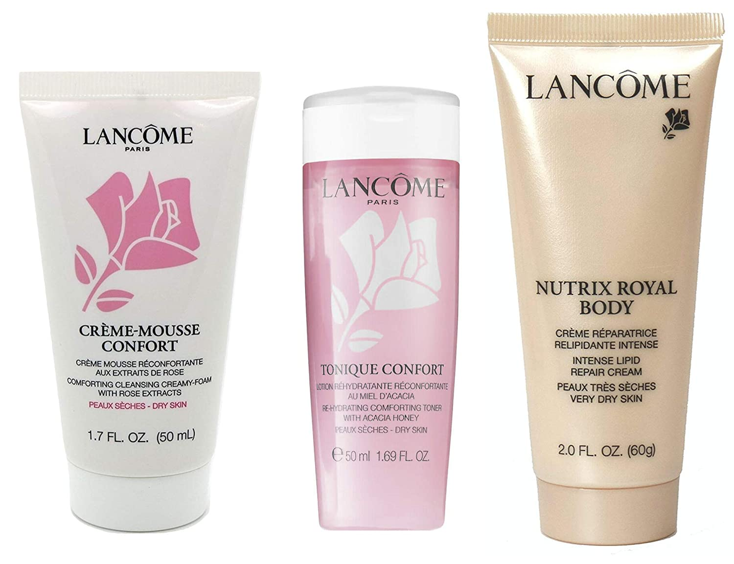 Lancome Skincare 3-Piece Travel Size Set Creme Mousse Cleanser, Toner, Royal Body Cream- New
