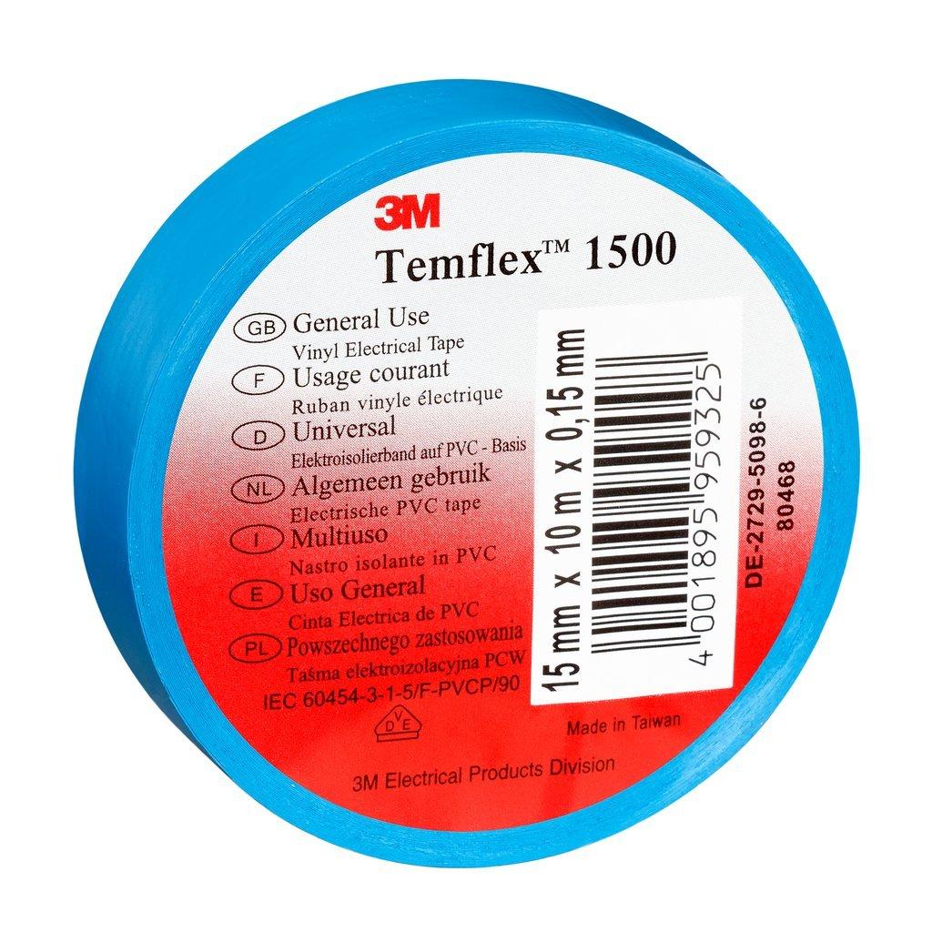3 M tbla2525 TEMFLEX 1500 vinilo elé ctrico de cinta aislante, 25 mm x 25 m, 0,15 mm), color azul 25mm x 25m 15mm) 3M 7000062314 my__124533