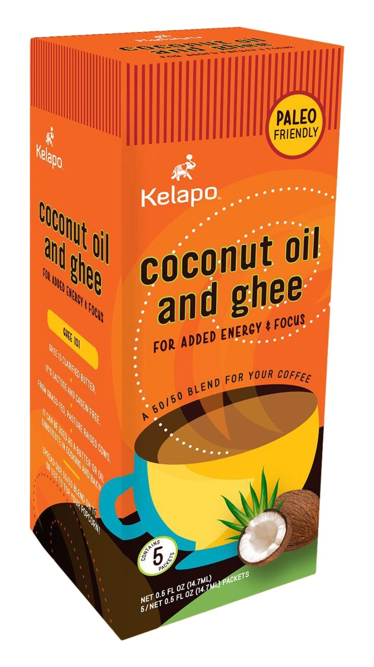 Kelapo Coconut Oil and Ghee 50/50 Blend Packets, 5 Count, 2.5 Ounce (Pack of 6)