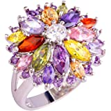 YAZILIND Wedding Colorful Flower Stainless Steel Band Anniversary Women Ring