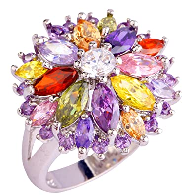 YAZILIND Wedding Colorful Flower Stainless Steel Band Anniversary Women Ring GrwwAI0Ius