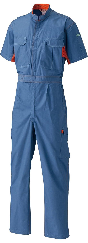 日の丸繊維 脇メッシュ半袖ツナギ服 1628 トップブルー 4Lサイズ B0793JTTJH