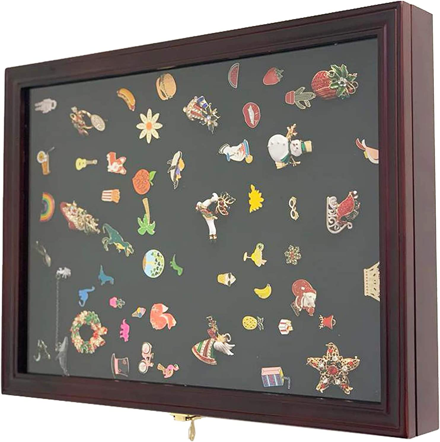 Front Opener Cabinet Lockable Coin and Coins Collector Medal//Lapel Pin Honored Medallion Display Case Shadow Box Holder Cherry