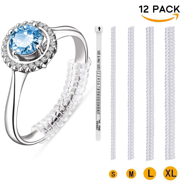Ring Size Adjuster for Loose Ring-12 Pack Ring Adjuster with 4 Sizes Fit Any Rings (1.2mm/2mm/3mm/4mm)-with Free Ring Finger Sizer Gauge COOLOO