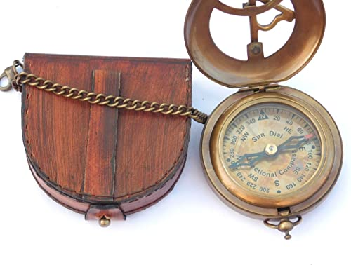 NEOVIVID Brass Sundial Compass with Leather Case and Chain – Push Open Compass – Steampunk Accessory – Antiquated Finish – Beautiful Handmade Gift -Sundial Clock