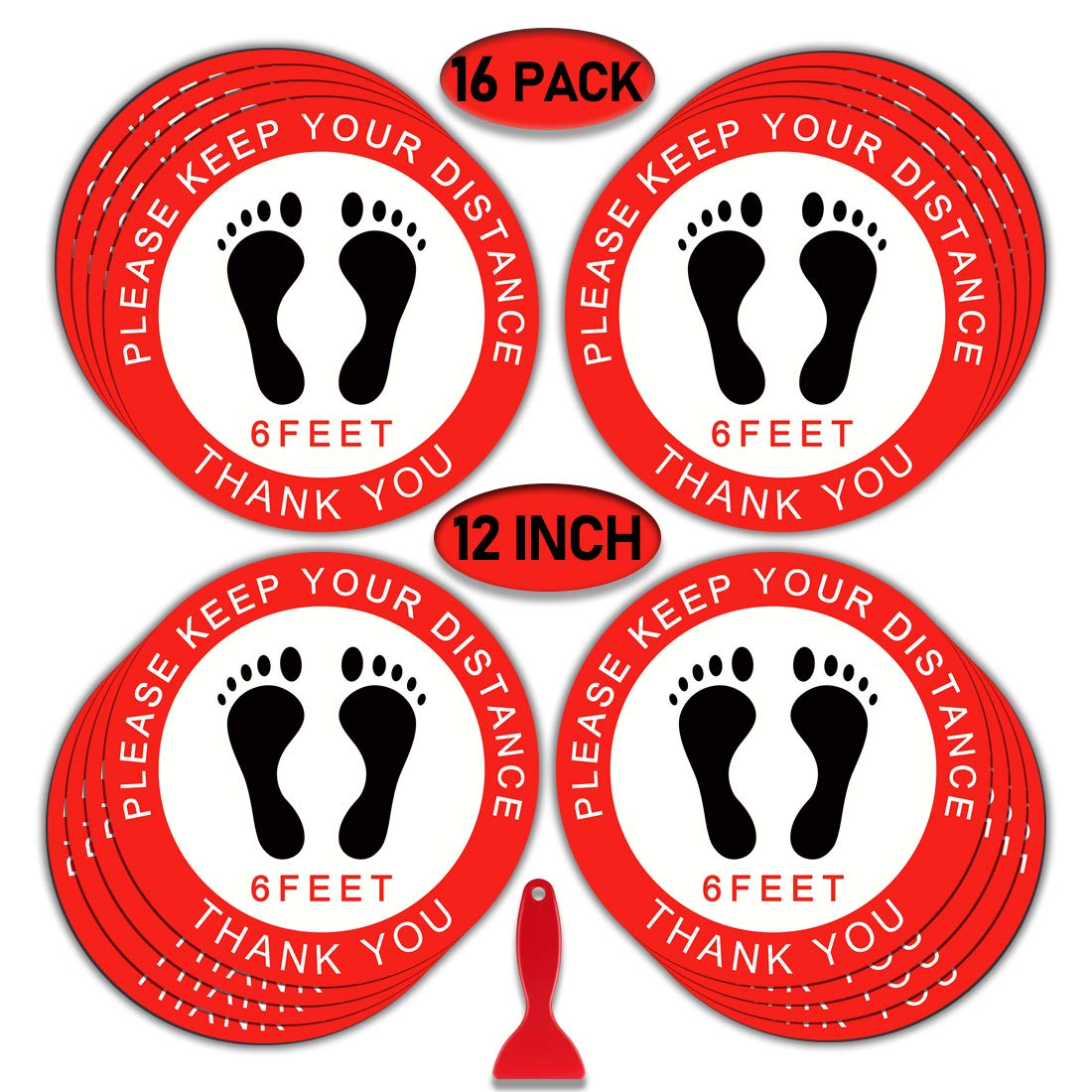 "Social Distance Floor Stickers, 12"" Round Vinyl Removable Decals,16 Pack Safety Floor Sign Marker, Please Keep 6 Feet Apart Decal, Crowd Control for Guidance, Grocery, Pharmacy, Bank, Lab.Red"