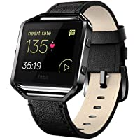 """Andyou Fitbit Blaze Bands Leather Frame Small Large (5""""-8.2""""), Genuine Leather Replacement Band Silver/Rose Gold/Black Metal Frame Fitbit Blaze Women Men, Black, Brown, White, Pink, Blue"""
