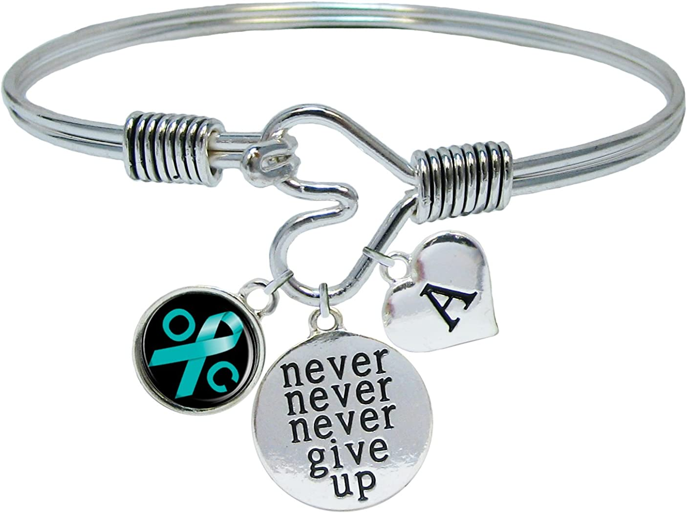 Sports Accessory Store Custom Ovarian Cancer Awareness Never Give Up Bracelet Choose Initial