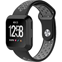 Fitbit Versa Bands, Soft Silicone Sport Band Replacement with Ventilation Holes Breathable Strap Bands for New Fitbit Versa Smart Fitness Watch Women Men(Black&Grey)