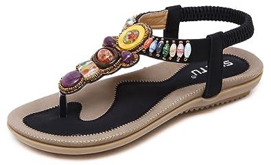 db89f79fc DolphinBanana Colorful Summer Vacation T Strap Flat Sandals Black Open Toe  Thongs Jewels Gem Beads Dressy