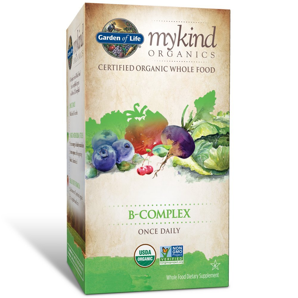Garden of Life B Complex with Folate - mykind Organic Whole Food Supplement for Metabolism and Energy, 30 Tablets by Garden of Life