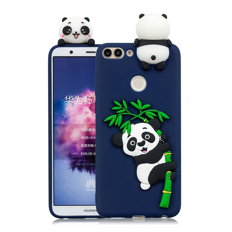 HopMore Panda Licorne Coque pour Huawei P Smart Silicone Souple 3D Design Motif Drôle Etui Huawei P Smart Étui Antichoc Ultra Mince Fine Slim Case Housse Protection pour Fille Femme - Vert Panda