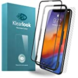 """Klearlook Clear Glass Screen Protector for 6.5"""" iPhone XS Max with Install Tool, 1-(Full Coverage) (Case Friendly) HD Tempered Glass Screen Cover for Front+ 1-Carbon Fibre Skin Sticker for Back"""