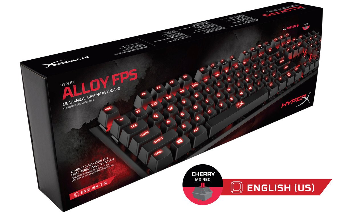 Cherry MX Red HyperX Alloy FPS Pro Tenkeyless Mechanical Gaming Keyboard Red LED and HyperX Fury S Pro Gaming Mouse Pad Medium