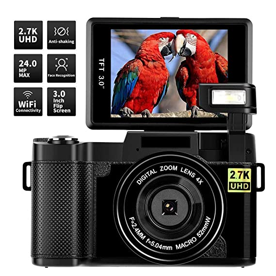 Digital Camera Vlogging Camera,24MP Ultra HD 2.7K Camera WiFi YouTube Camera with 3.0 Inch Flip Screen and Retractrable Flashlight