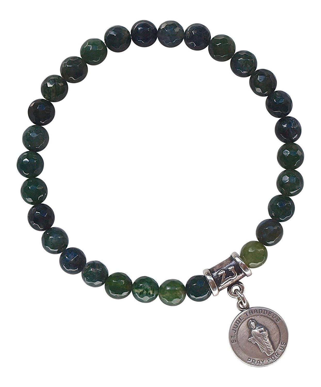 BRJUDE Jude Medal JUDE MEDAL Moss Agate Healing Crystal Stretch Bracelet with Sterling Silver St ST
