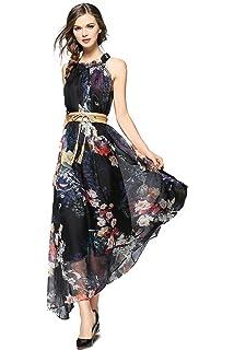 45fe94394c70a Joy EnvyLand Women V Neck Tunic Floral Chiffon Evening Party Maxi ...