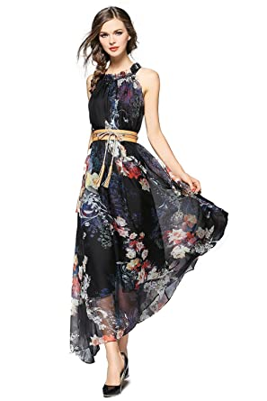 1f2cf72b1096 Joy EnvyLand Plus Size Floral Evening Gown Prom Cocktail Party Summer Maxi  Dress,Black,