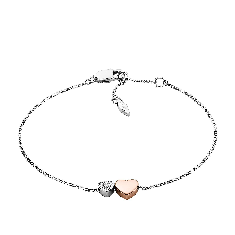 Fossil Women's Two-Tone Hearts Bracelet