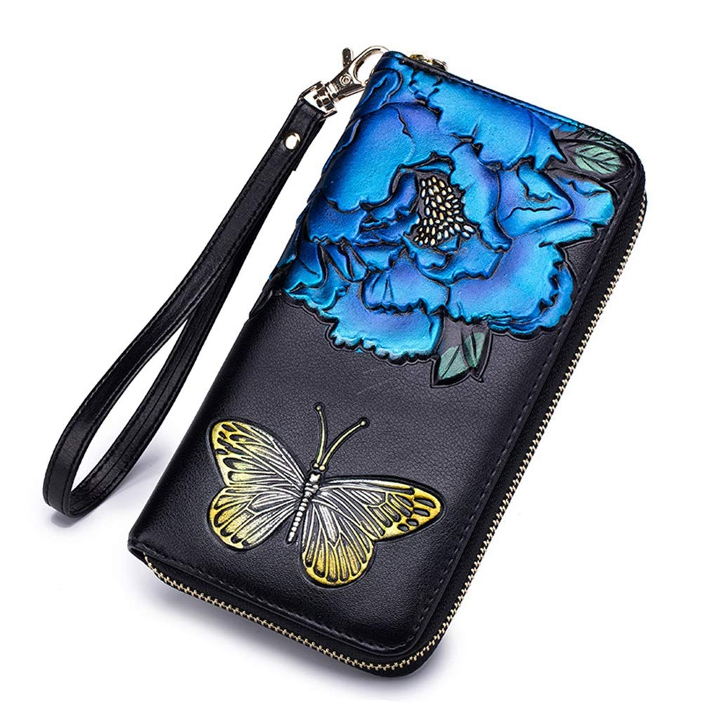 Badiya Women RFID Blocking Wallet Embossed Print Clutch Handbag with Wristlet by Badiya