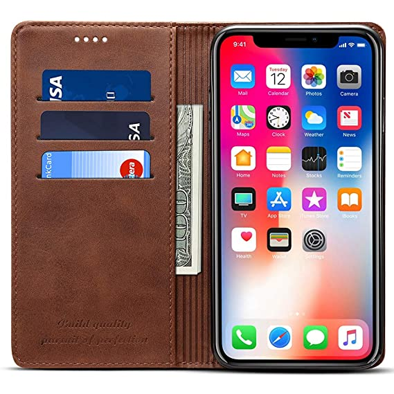 more photos e0018 8b728 Wallet Case Compatible iPhone XR/iPhone 10R, Premium PU Leather Wallet Case  Flip Folio [Kickstand Feature] with ID&Credit Card Pockets for iPhone 10R/  ...