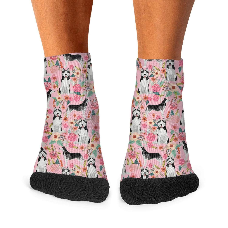 Mens athletic low cut Ankle sock Husky Dog Pink Floral1 Short Sports Sock