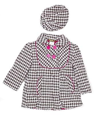 Amazon.com  Penelope Mack Baby Girls  Houndstooth Dress Coat and Hat ... 3bcdada7fa0