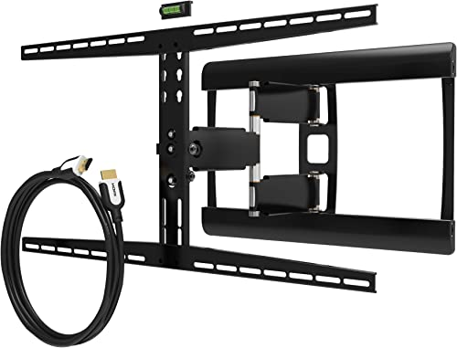 Promounts Apex Articulating Full Motion TV Mount Bracket for 37-70 TVs up to 120 lbs, VESA up to 800×400 with 12 ft. HDMI Bubble Level SAL , Black