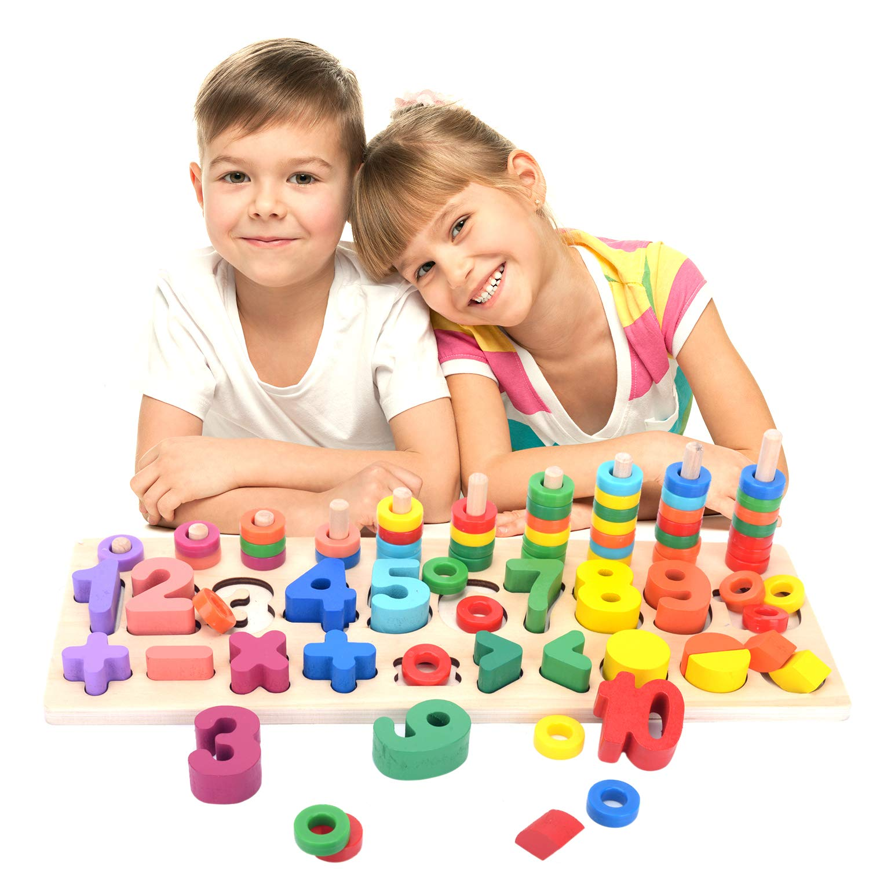 DailyLoop Montessori Wood Blocks Math Intelligence Peg Number Boards for Baby Toddler Preschool Kids