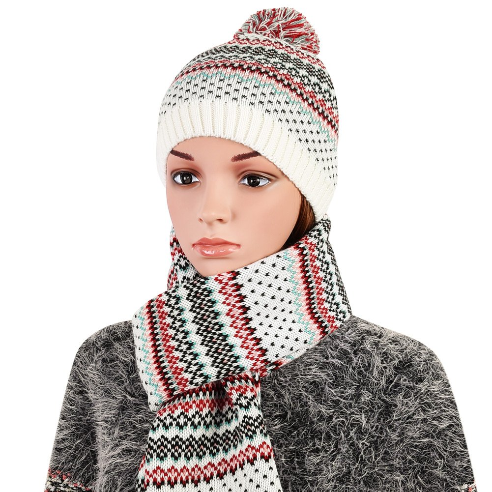 Vbiger Wintermütze klassische Beanie Mütze Damen Mütze und Schal Warm Strickmütze und Strickschal 2 PCS, Weiß+, Einheitsgröße