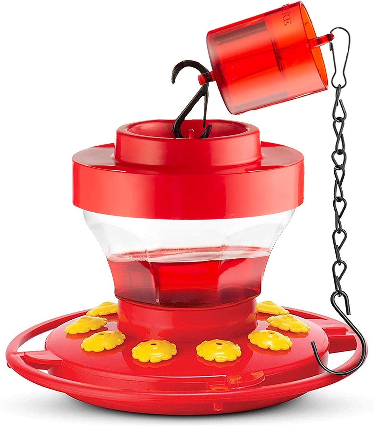 SEWANTA Hummingbird Feeders for Outdoors 16-Ounce - First Nature Hummingbird Feeder Includes, Perch with 10 Feeding Ports. Bundled with Attachable Ant Guard with Hanging Chains 9.5 Inch [3Pcs Set]