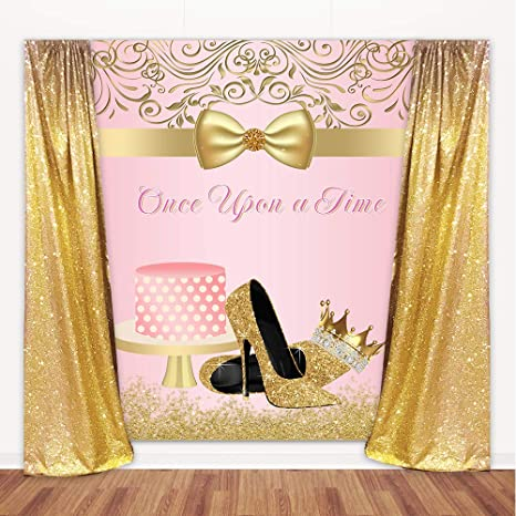 Amazon Com Mehofoto Once Upon A Time Birthday Backdrop Pink Gold