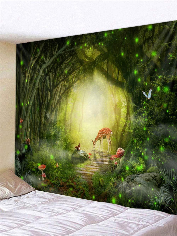 230Cm ZKPGUA Tapisseries Conte De F/ées For/êt Cerf Oiseau Panoramique Tapisserie Tenture Murale Salon Chambre D/écor 150 A