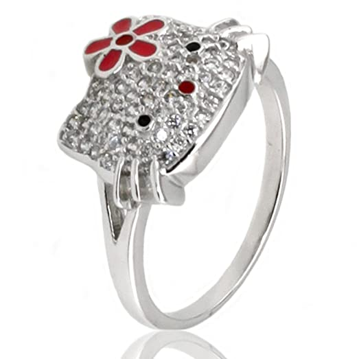 sterling silver cubic zirconia kitty ring w flower size 45 - Hello Kitty Wedding Ring