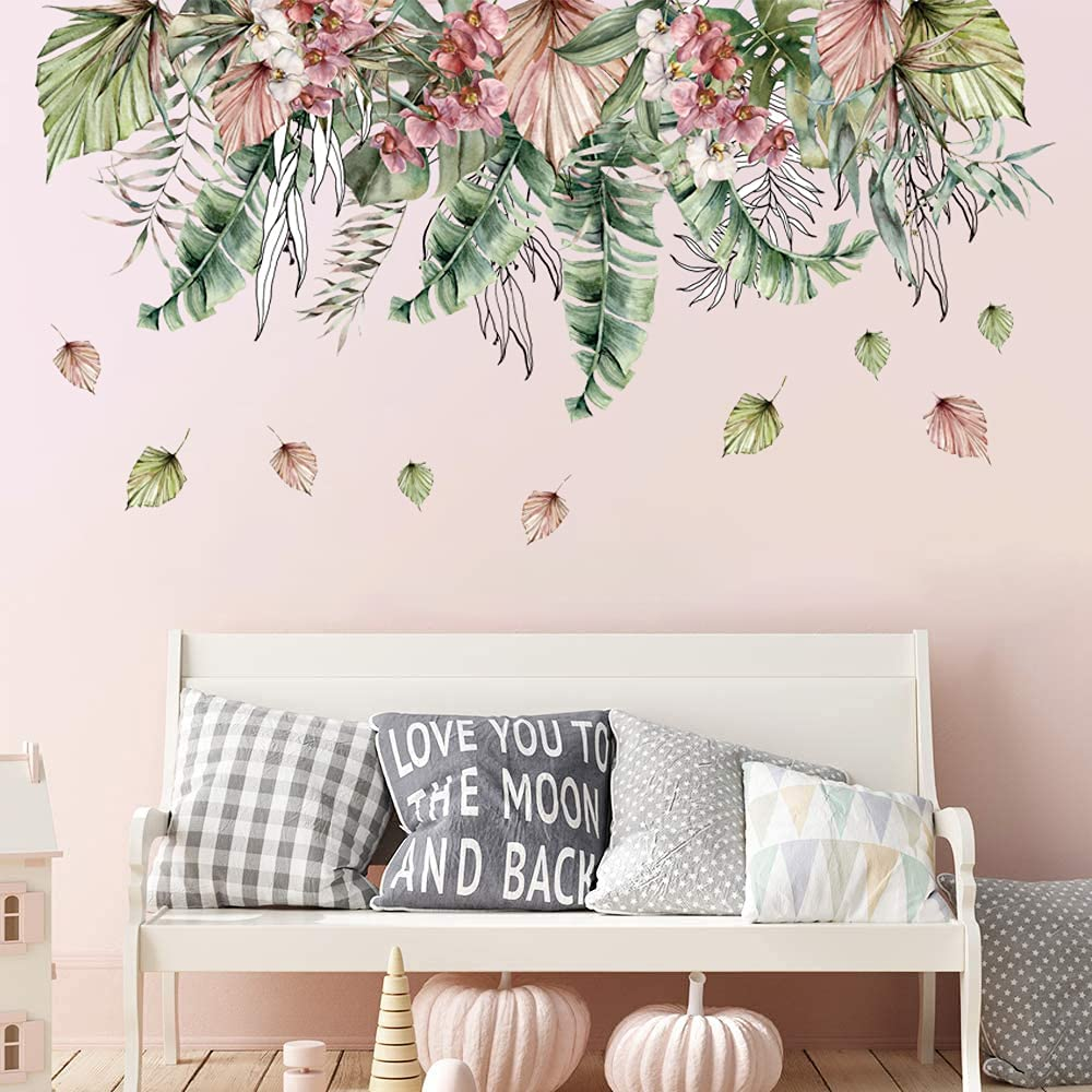 Supzone Tropical Flower Wall Sticker Nature Green Leaf Wall Decal Palm Plants Wall Decor DIY Vinyl Mural Art for Bedroom Living Room Sofa Backdrop TV Wall Decoration