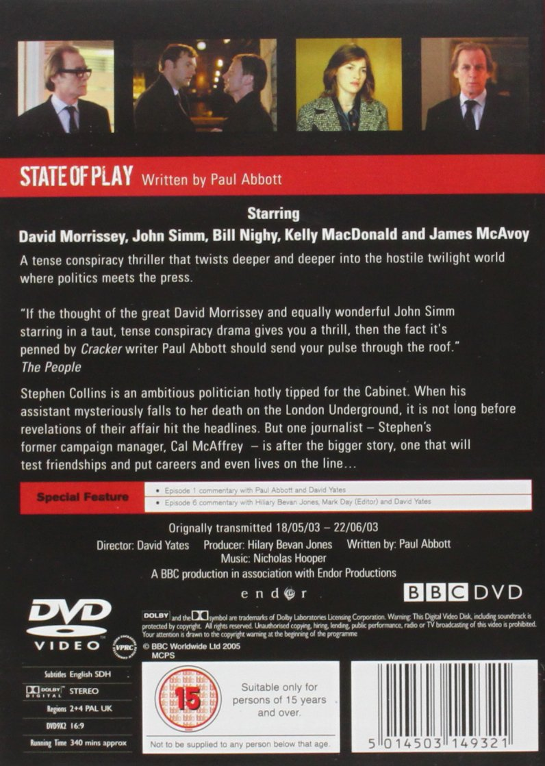 Amazon com: State of Play: Complete BBC Series 1 [Region 2