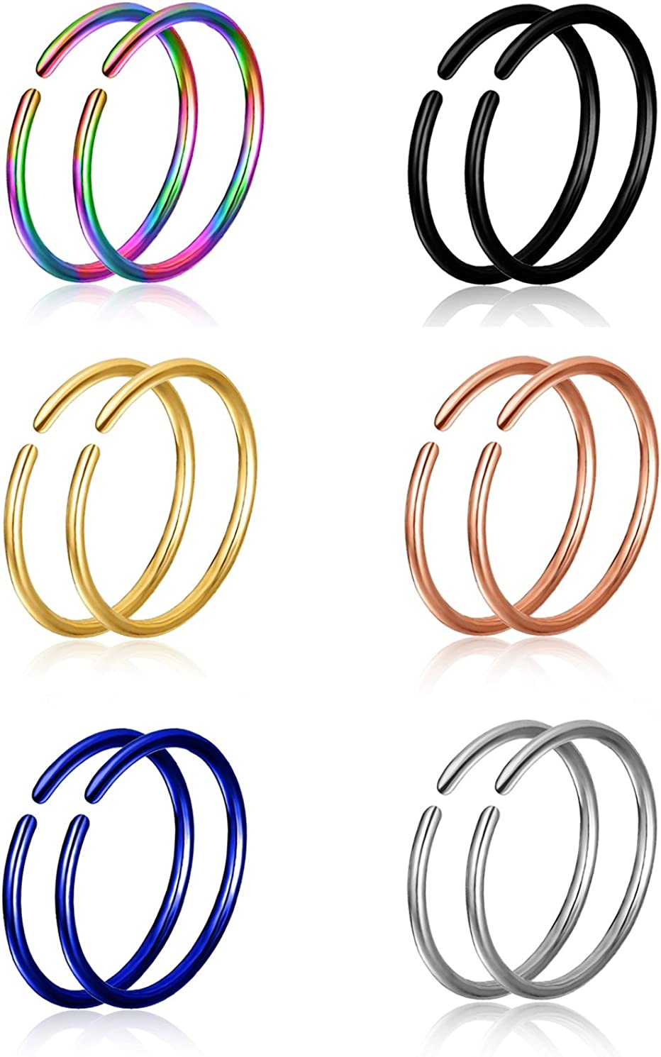 Tornito 8-12PCS 22G-20G-18G 316L Steel Nose Ring Lip Daith Cartilage Helix Tragus Hoop Ring